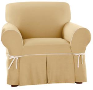 SURE FIT Cotton Canvas BOX Cushion Chair Slipcover  yellow Maize / Natural trim
