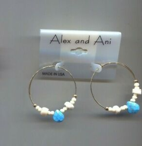 ALEX & ANI TURQUOISE CREAM HOOP earrings