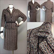 Vtg 50s Knit Banff Suit Boucle Skirt Jacket Nubby Striped Virgin Wool Tailored M