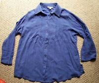 Appleseeds Womens 1X Button Front Tunic Shirt Roll Tab L/S Purple