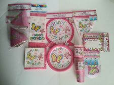 128 Butterfly Party Supply Set 16 Guests- plates cups invites hats decor