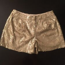 Warehouse Gold Sequin Smart Party Hotpant Disco Shorts Size 10