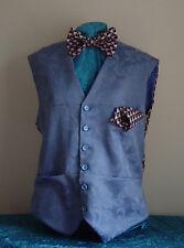 "Blue brocade mans waistcoat L42-44"" Steampunk silk Mr Mole miners back & lining"