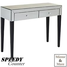 Modern Style Mirrored Dressing Table Cabinet Glass 2Drawer Storage Unit Cupboard
