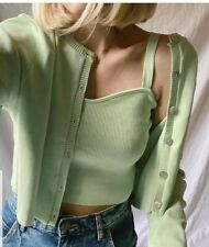 Zara Fine Knit Lime Green Co Ord Top And Cardigan New