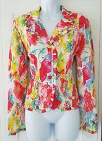 Womens Joseph Ribkoff White Pink Splash Floral Crinkle Frill Occasion Jacket 12