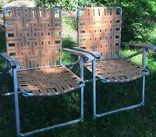 PAIR Vintage Double Barrel Arm Aluminum Webbing Mid Century Folding Lawn Chairs