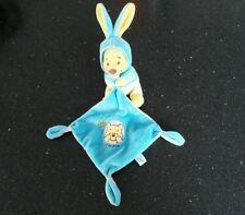 Doudou winnie l'ourson bleu jaune capuche grande oreille disney nicotoy
