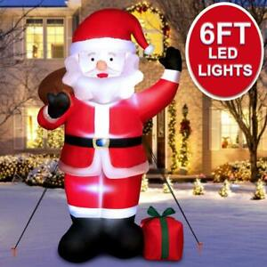 6ft Inflatable Father Christmas Air Blown Decoration Yard Santa Claus Light Up