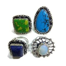 Nice Lot !! 4 PCs. Opalite & Turquoise 925 Sterling Silver Plated Ring Jewelry