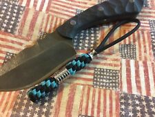 Paracord knife lanyard most knives with Stainless Beads Black And Blue