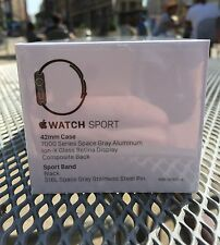NEW SEALED * Apple Watch Sport 42mm Space Gray Aluminum Case w Black Sport Band