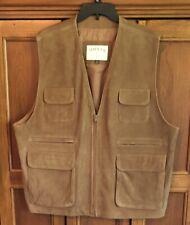 ORVIS Genuine Leather Brown Vest Hunting Fishing Men's Sz XXL Full Zip Pockets