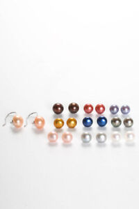 Honora Sterling Silver Tone Pearl Stud Earrings Pink Gray Blue Gold Lot 10