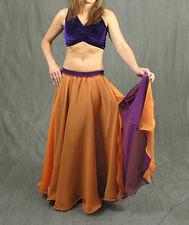 Coral & Purple Reversible Slit Skirt BellyDance Costume