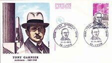 Enveloppe 1er Jour LYON TONY GARNIER 17/11/1973 architecte 1869-1948 timbrée