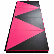 "Folding Tumbling Gym Mat Panel Exercise Yoga Sports 4'x10'x2"" Pink & Black"