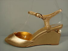 CHANEL GOLD LEATHER STRAPPY PEARL WEDGE SANDALS SHOES AUTHENTIC 37/6.5/7 NEW