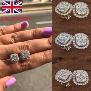 14K Rose Gold Women Earrings 925 Silver Bling Crystal Rhinestone Stud Earrings