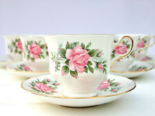 Vintage Queen Anne 8540 Bone China Floral Pink Roses Tea Set 6 Cups Saucers