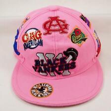 "Negro American League Baseball Hat Black Yankees + Logos Pink Cap Fitted 7-5/8"""