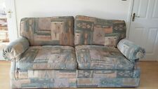 Used M&S 3 piece suite and footstool. Green/apricot chenille effect fabric