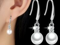 925 Sterling Silver Earrings Stimulated Pearl Crystal Drop Fashion Jewelry