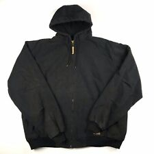 Berne Duck Hooded Jacket 2XL Tall 52-54 HJ51BKb Zip Front Work Mens Lined