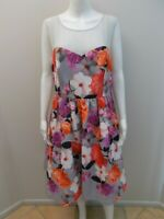 CITY CHIC FLORAL PRINT DRESS WITH TULLE SIZE XS=14/16    (#X1803)