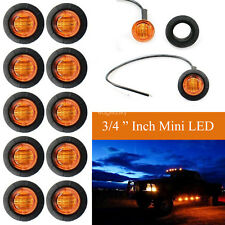 "10 Pcs 3/4"" Inch Mount Amber Yellow 12V Mini LED Clearance Side Marker lights"