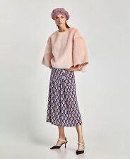 New Zara Women Pink Faux Fur Textured Sweatshirt Coat Jacket SZ S