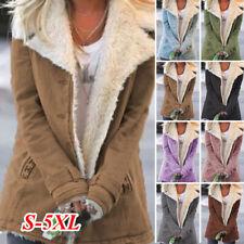 Womens Casual Winter Long Coats Parka Ladies Warm Faux Fur Fleece Jacket Outwear