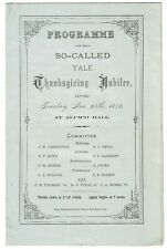 Yale Programme of the So-called Yale Thanksgiving Jubilee Events - Nov 1874