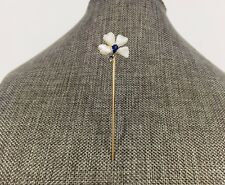 Antique 14k Gold Pearl Sapphire Flower Stick Pin