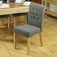 Baumhaus Oak Upholstered Flare Back Dining Chairs in Slate (pack of Two)