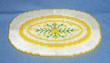Miniature Handmade Needlepoint Dollhouse Rug Oval Floral Yellow White Rose