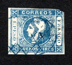Argentina 1859 Buenos Aires #10 used 1p blue, fine imp. cv $30, corner clip