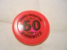 JETON CASINO 50 (64) BELLEVUE BIARRITZ 49MM ROSE