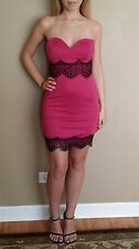 Sexy Strapless Hot Pink/Black Lace Clubwear/Party Mini Dress, Large