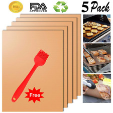 Cookey Upgraded Copper Grill Mat and Bake Mat Set of 5 Non Stick BBQ Grill & Bak