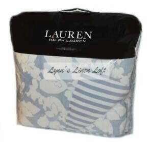 RALPH LAUREN Willa Floral Chambray Blue Cream 3P KING COMFORTER SET $420
