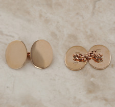 Oval Chain Link Cufflinks 9ct Rose Gold
