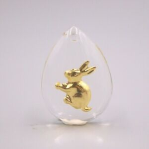 New 24K Yellow Gold Foiled and Man-made Crystal Lucky Rabbit Pendant Best Gift