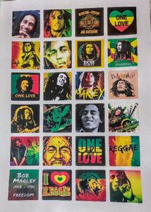 24 BOB MARLEY REGGAE STICKERS Rasta, weed, 420, Jamaica, roots, one love, 4cm