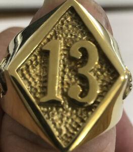 Size 13 Lucky #13 Brass Men's Ring