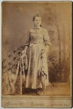 VICTORIAN 1880 LEBANON KY KENTUCKY GIRL UMBRELLA CABINET CARD PHOTO