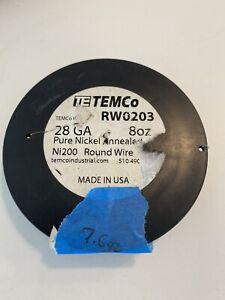 TEMCo Pure Nickel Wire 28 Gauge 7.6 oz non resistance AWG Ni200 Nickel 200ga