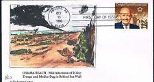 1990 Dwight D Ike Eisenhower Omaha Beach D-Day WW2 Hand Colored BNC Cachet FDC