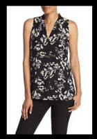 NWT Women's Vince Camuto Black Floral Print Sleeveless Blouse Top Sz Large