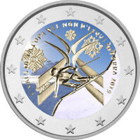 2 Euro Gedenkmünze Andorra 2019 coloriert / mit Farbe - Farbmünze  SKI - WM